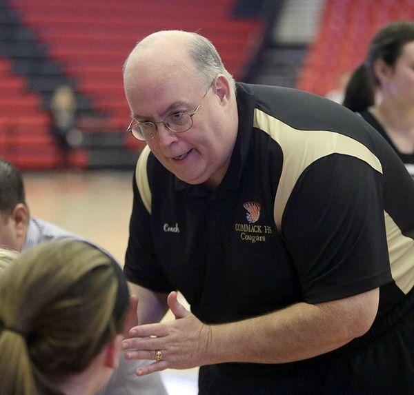 Commack girls varsity basketball head coach Denis Conroy