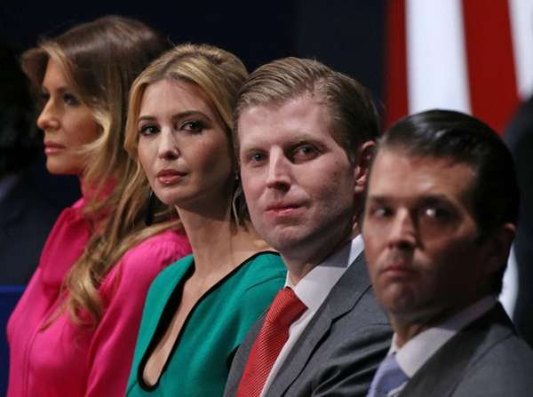 President-elect Donald Trump's family members, from left, wife