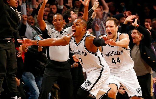 Randy Foye of the Brooklyn Nets celebrates his