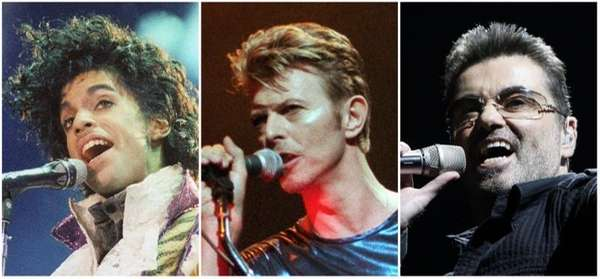 This photo combination shows performances by pop music