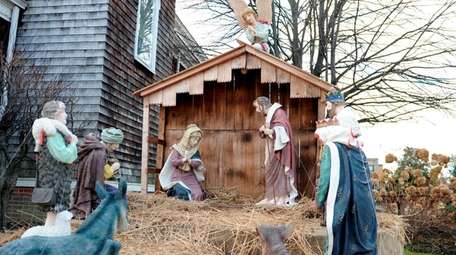 A nativity display in front of St. Mary
