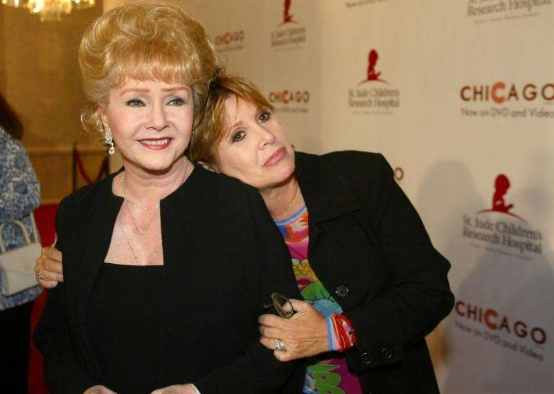 Debbie Reynolds and Carrie Fisher arrive at the