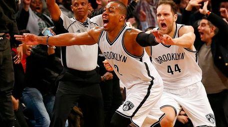 Randy Foye #2 of the Brooklyn Nets celebrates