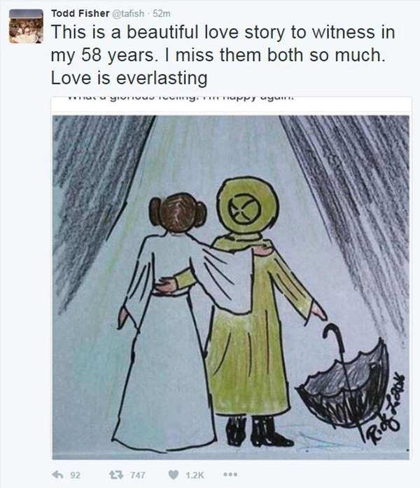 Todd Fisher tweeted a drawing representing his late