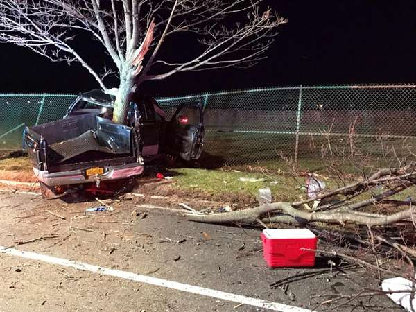 A truck hit a tree on Wellwood Avenue just north