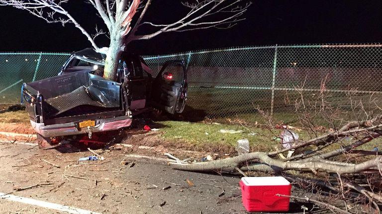 A truck hita tree on Wellwood Avenuejust north