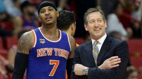 New York Knicks forward Carmelo Anthony and head