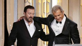 Host Ricky Gervais, left, and presenter Mel Gibson