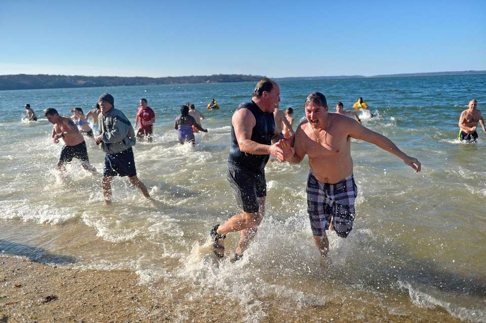 Participants make a beeline for the shore during