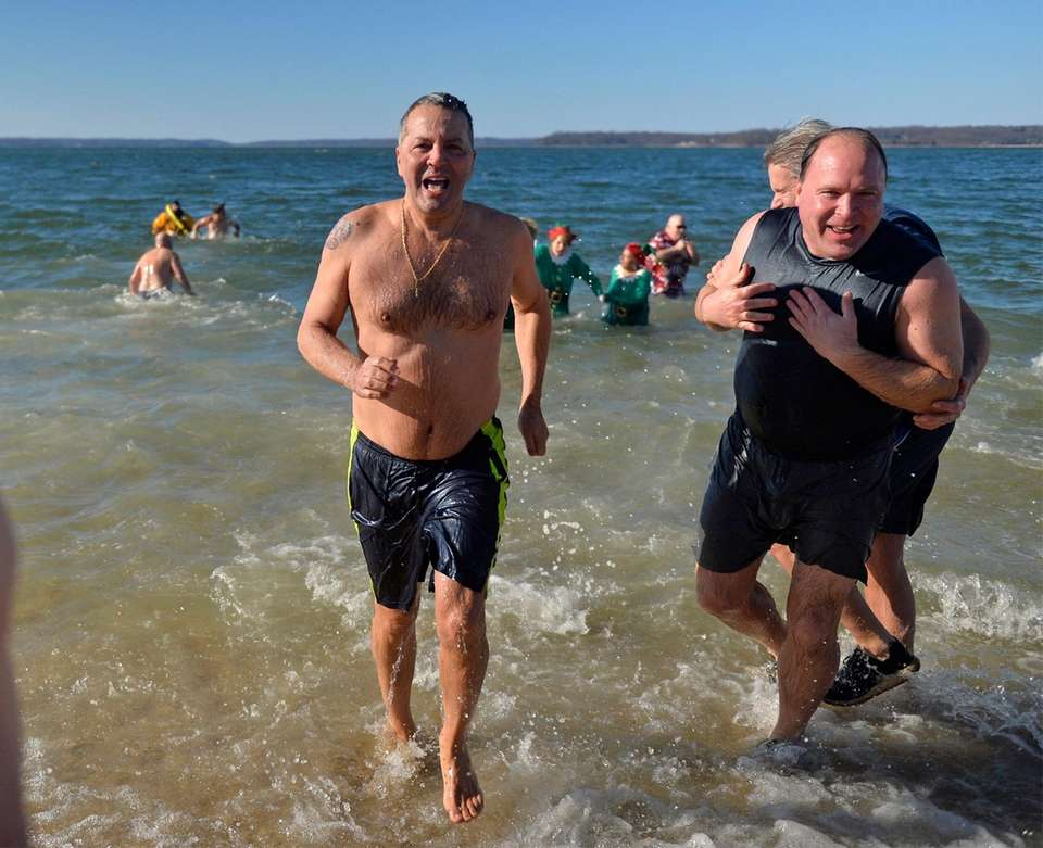 Participants sprint back to dry land at Steer's