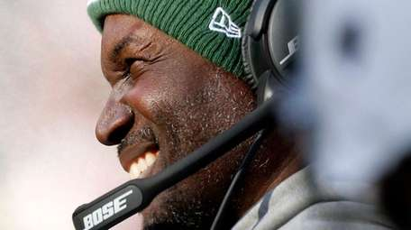 New York Jets coach Todd Bowles looks on