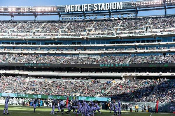 A sparsely populated MetLife Stadium during the first