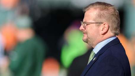 New York Jets general manager Mike Maccagnan looks