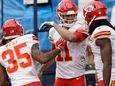 Kansas City Chiefs quarterback Alex Smith (11) celebrates
