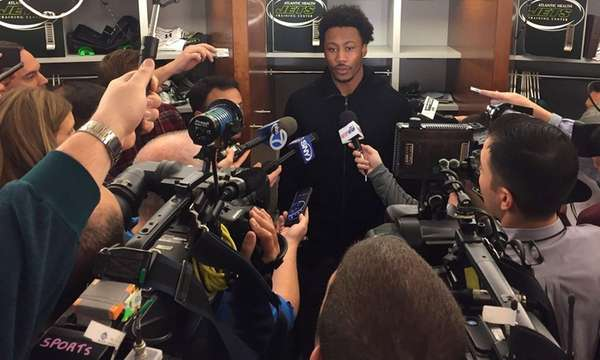 Brandon Marshall speaks to the media at the