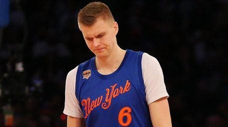 Kristaps Porzingis of the New York Knicks reacts