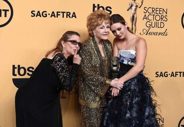 Carrie Fisher, from left, Debbie Reynolds and Billie