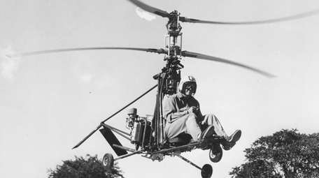 Pilot Jim Ryan, of Smithtown, tests a Rotocycle