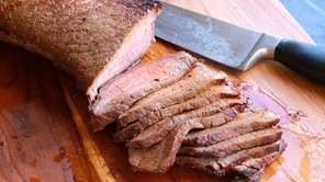 London broil (aka top round) steak is rubbed