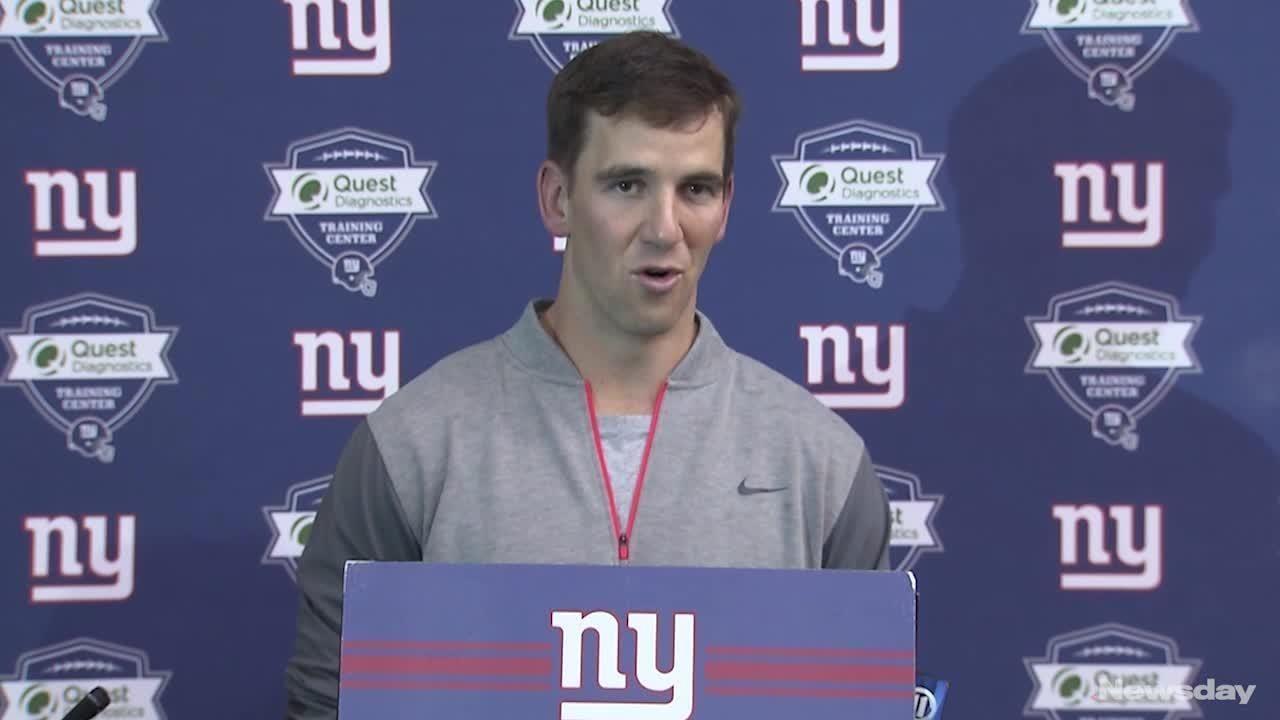 Eli Manning took time during hispress conference on