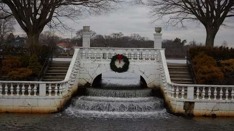 The white stone terrace and steps at the