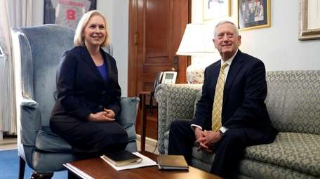 U.S. Sen. Kirsten Gillibrand (D-N.Y.) meets with retired