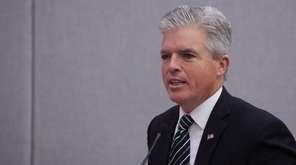 Suffolk County Executive Steve Bellone addresses the Suffolk
