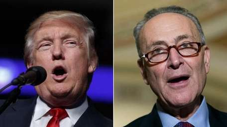 President-elect Donald Trump, left, called Sen. Chuck Schumer