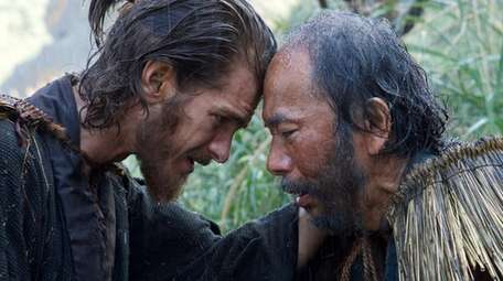 Andrew Garfield, left, and Shinya Tsukamoto in a