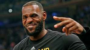 Cleveland Cavaliers forward LeBron James reacts as he