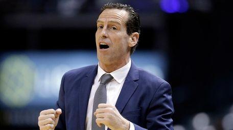 Brooklyn Nets head coach Kenny Atkinson gestures on