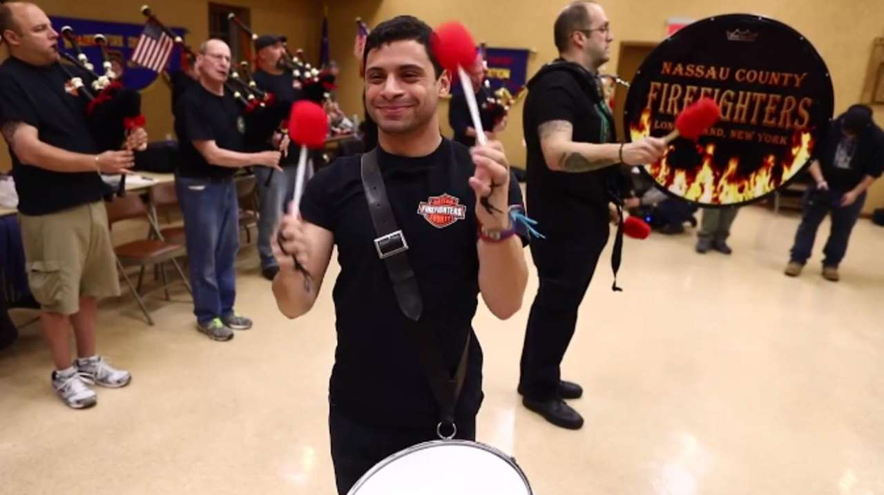 The Nassau County Firefighters Pipes and Drums rehearseon