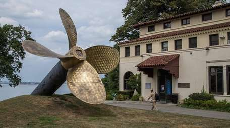 A ship's propeller on display outside the American