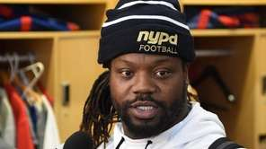 Giants defensive tackle Damon Harrison wears an nypd