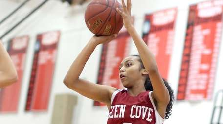 Glen Cove's Destiny Howell shoots from outside at
