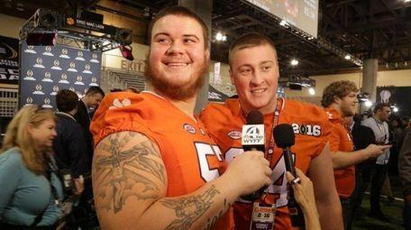 Clemson Tigers center Jay Guillermo interviews teammate Pat