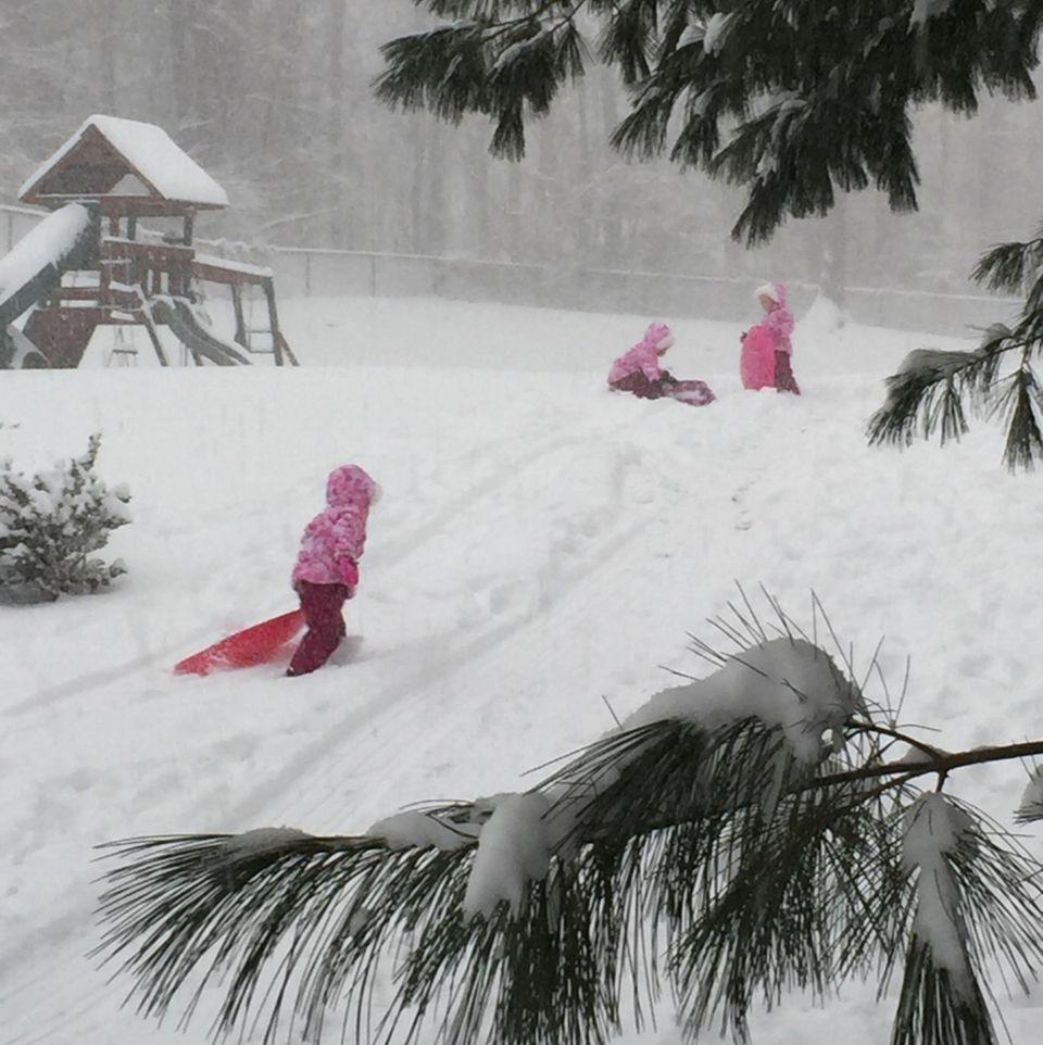 Kids enjoying the snow day
