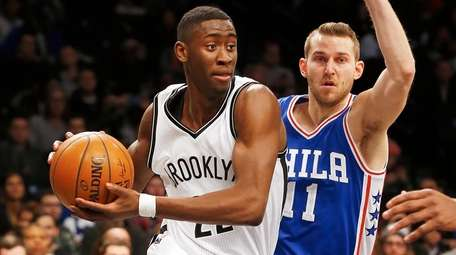 Caris LeVert of the Brooklyn Nets drives against