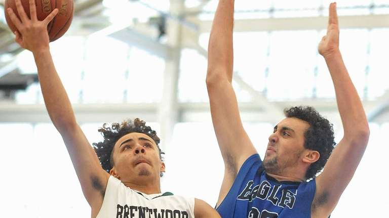 Kenny Lazo #4 of Brentwood, left, drives to