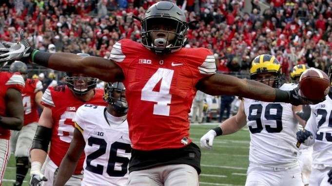 Ohio State's Curtis Samuel (4) jumps for joy