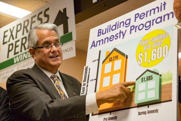 Hempstead Supervisor Anthony Santino announces a building