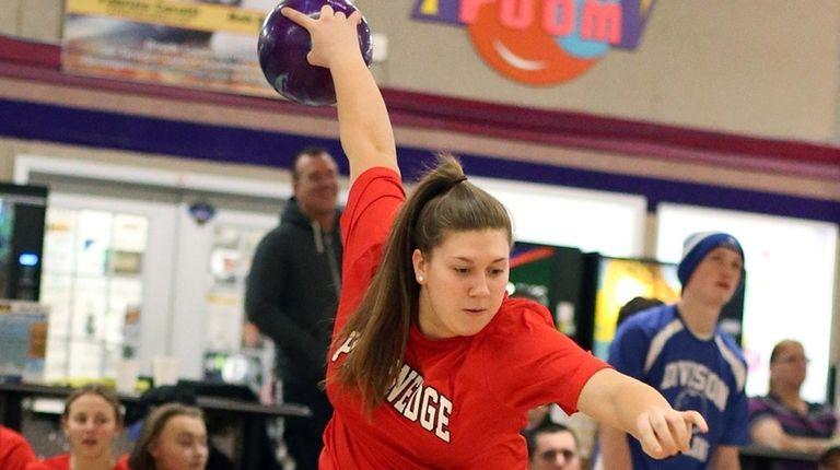 Plainedge's Victoria Nowak during the Nassau girls bowling
