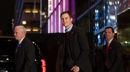 Vice President-elect Mike Pence and Jared Kushner leave