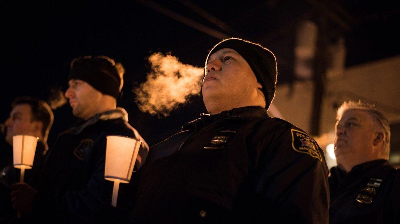 Malverne Police Officer Orlando Prado at a vigil