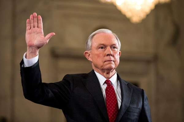 Sen. Jeff Sessions (R-Ala.) prepares to testify at