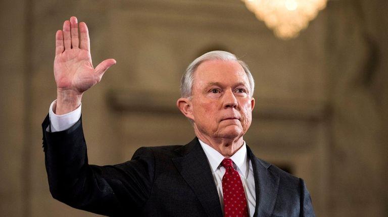 Sen. Jeff Sessions (R-Ala.) prepares to testify at