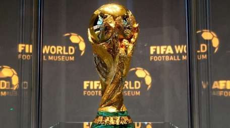 The World Cup trophy is seen at the