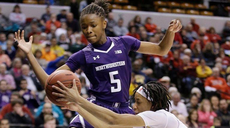 Maryland's Brene Moseley (3) and Northwestern's Jordan Hankins