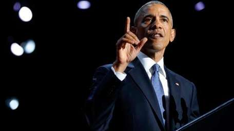 President Barack Obama speaks during his farewell address