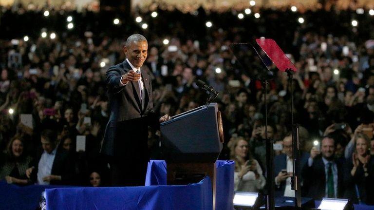 President Barack Obama delivers his farewell address at